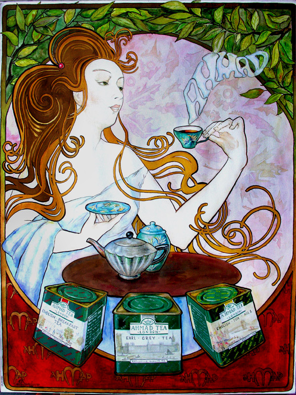 artwork stylized for Alphonse Mucha`s graphics