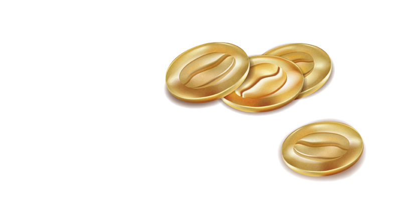 golden coins with coffee beans (illustrator)
